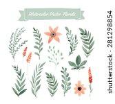 set of handpainted watercolor... | Shutterstock .eps vector #281298854