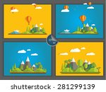 four flat landscape with shadow | Shutterstock .eps vector #281299139