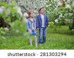 adorable girl with a boy in the ... | Shutterstock . vector #281303294