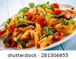 pasta with meat  tomato sauce... | Shutterstock . vector #281306855