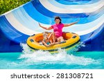 child with mother on water... | Shutterstock . vector #281308721