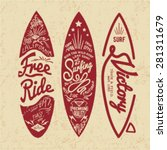 vintage surf board with type | Shutterstock .eps vector #281311679
