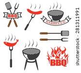 bbq  set icons  logos badges ...   Shutterstock .eps vector #281311991
