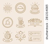 vector linear food labels and... | Shutterstock .eps vector #281314085