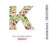 fruits and vegetables highest... | Shutterstock .eps vector #281315801