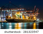 cargo ship loaded in the new... | Shutterstock . vector #281323547