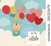 baby shower  design over blue... | Shutterstock .eps vector #281325479