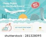 flat travel banner   abu dhabi  ... | Shutterstock .eps vector #281328095