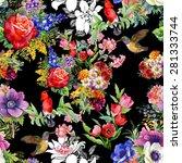 birds with garden flowers ... | Shutterstock .eps vector #281333744