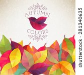 autumn background. vector... | Shutterstock .eps vector #281340635