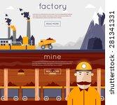 mineral mining  black mining ... | Shutterstock .eps vector #281341331