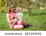 happy family . mom and dauther... | Shutterstock . vector #281343341