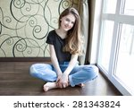 beautiful young girl with long... | Shutterstock . vector #281343824