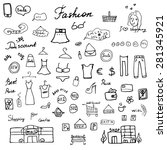 fashion collection sketchy... | Shutterstock .eps vector #281345921