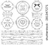 doodles seamless border frame... | Shutterstock .eps vector #281347271
