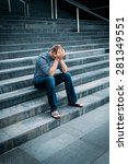 despaired young man covering... | Shutterstock . vector #281349551