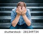 outdoor portrait of sad young... | Shutterstock . vector #281349734