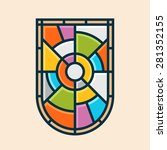 stained glass shield emblem... | Shutterstock .eps vector #281352155