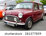 Small photo of BERLIN - MAY 10, 2015: Small economy car Mini, made by the Industria de Montagem de Automoveis (Portugal), 1977 28th Berlin-Brandenburg Oldtimer Day