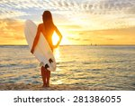 Surfing Surfer Girl Looking At...