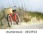 Red Vintage Bicycle With Baske...