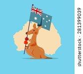 kangaroo and baby handle...   Shutterstock .eps vector #281399039