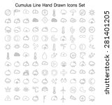 cumulus clouds line hand drawn... | Shutterstock .eps vector #281401205