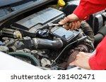 worker in red overalls...   Shutterstock . vector #281402471