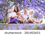 portrait beautiful young family ... | Shutterstock . vector #281402651