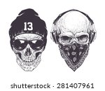 two dotwork skulls with modern...