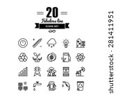 thin lines icons set of ecology ... | Shutterstock .eps vector #281411951