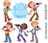 Cartoon Children Sing With A...