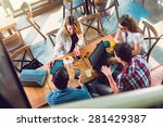 group of young people sitting... | Shutterstock . vector #281429387