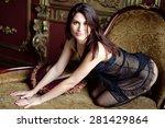attractive girl in black... | Shutterstock . vector #281429864