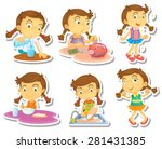 cute girl in different actions  | Shutterstock .eps vector #281431385