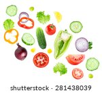mixed falling vegetables on... | Shutterstock . vector #281438039