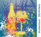 wine  art design background... | Shutterstock . vector #281443661