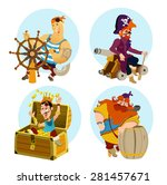 set of cute cartoon pirates men ... | Shutterstock .eps vector #281457671