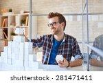 happy businessman building... | Shutterstock . vector #281471411