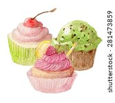 watercolor cupcakes hand drawn... | Shutterstock .eps vector #281473859