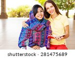 european woman volunteering in... | Shutterstock . vector #281475689