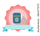passport flat icon with long...