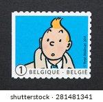 belgium   circa 2014  a postage ... | Shutterstock . vector #281481341