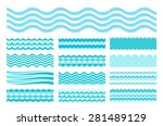 collection of marine waves. sea ...