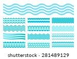 Collection of marine waves. Sea wavy, ocean art water design. Vector illustration | Shutterstock vector #281489129