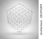 3d cube with lines and dots.... | Shutterstock .eps vector #281491859