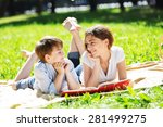 cute boy and young woman in... | Shutterstock . vector #281499275