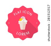 ice cream flat icon with long...