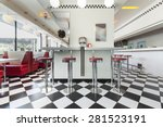 bar stools in a american diner... | Shutterstock . vector #281523191