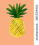 colorful pineapple drawing on... | Shutterstock . vector #281529431